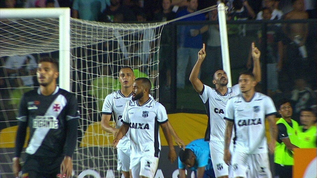 Gol do Ceará! Zaga do Vasco falha no alto e Tiago Alves marca de cabeça aos 20 do 2º tempo