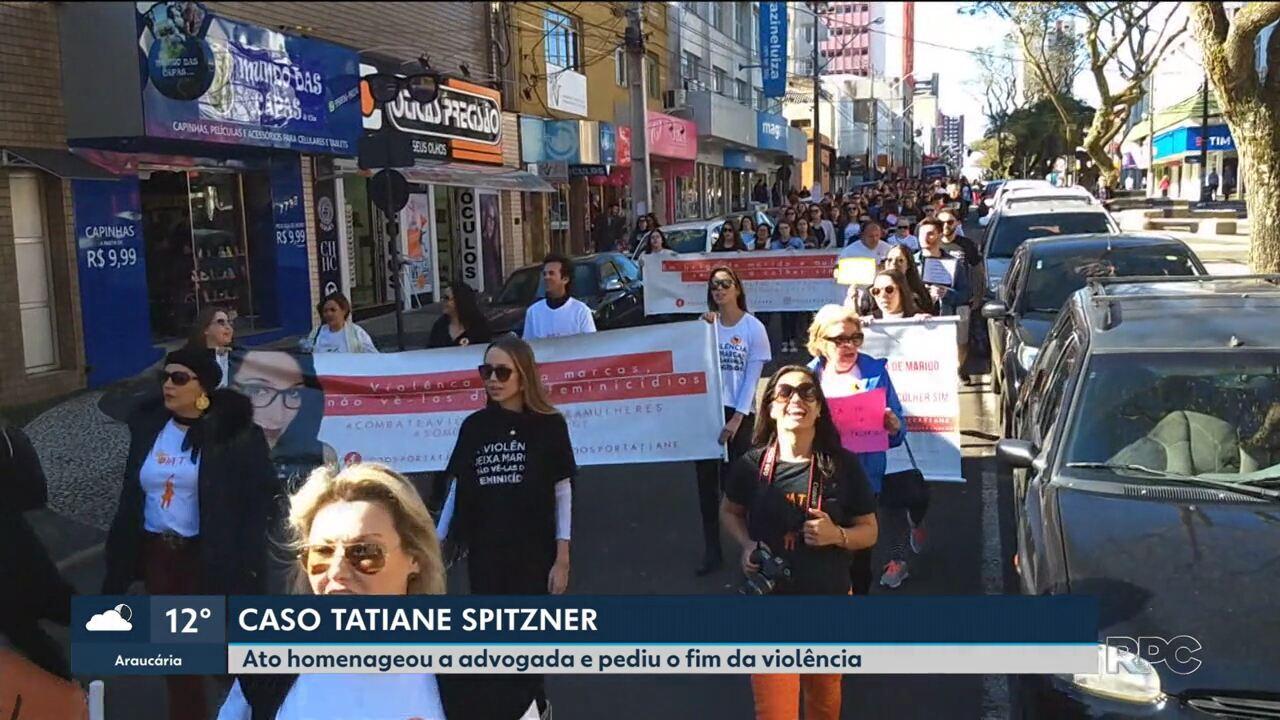 Protesto em Guarapuava homenageou Tatiane Spitzner