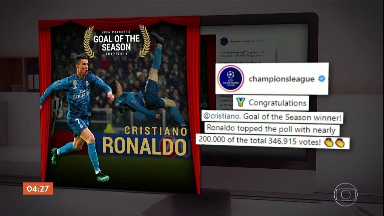 Bicicleta de Cristiano Ronaldo é eleito o gol da temporada europeia pela Uefa
