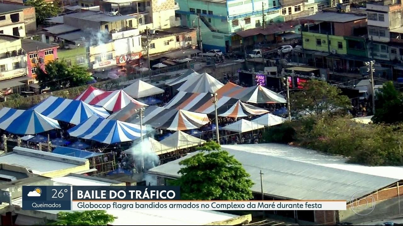 Globocop flagra vários homens armados em baile funk no Complexo da Maré
