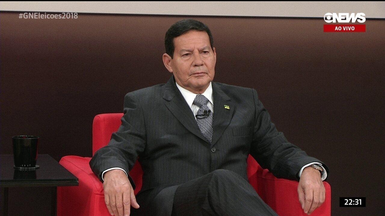 Central das Eleições recebe general Mourão, candidato a vice na chapa de Jair Bolsonaro