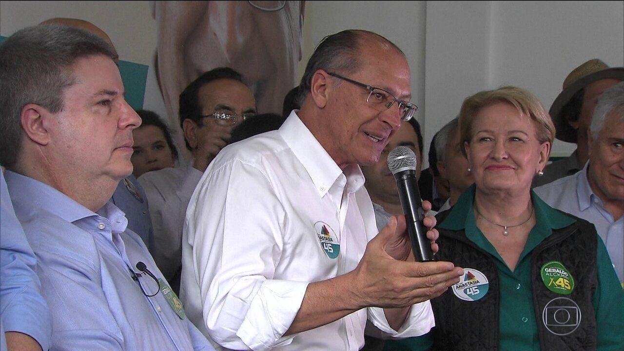 Candidato do PSDB, Geraldo Alckmin, faz campanha em São Paulo e Minas