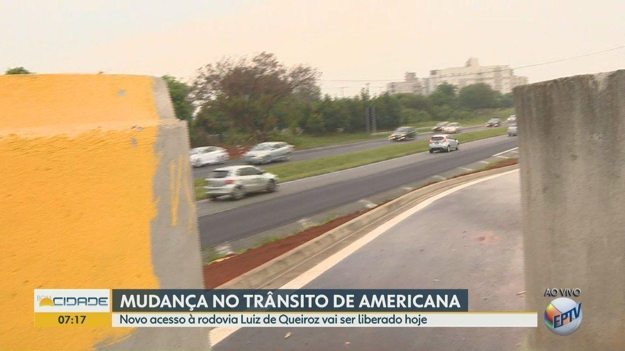 Novo acesso à rodovia Luiz de Queiroz é liberado nesta sexta-feira (14), em Americana (SP).