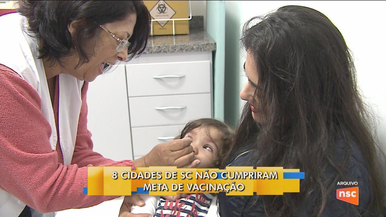Oito cidades de SC não cumpriram meta de vacinação contra pólio e sarampo
