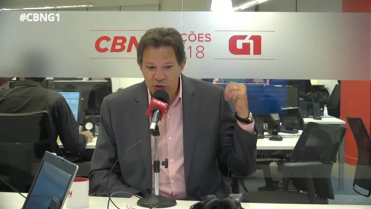 Fernando Haddad (PT) é entrevistado pelo G1 e pela CBN