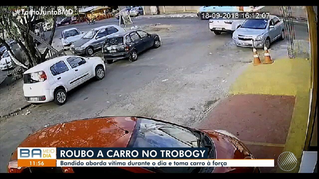 Câmeras de segurança flagram ação de bandido no Trobogy