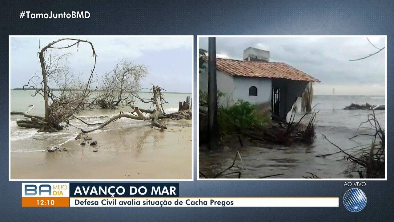Moradores de Cacha Pregos se assustam com avanço do mar