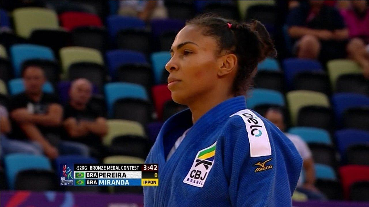 Érika Miranda bate Jéssica Pereira e fica com o bronze no Mundial de judô