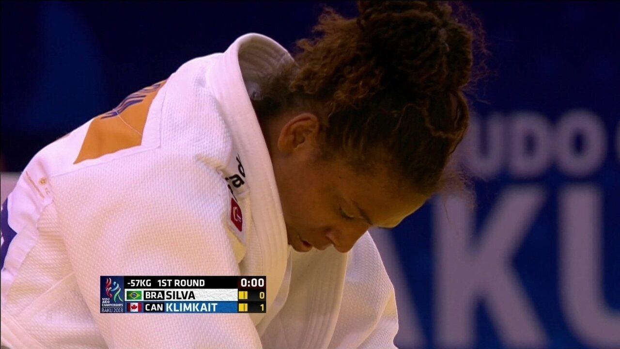 Atual campeã olímpica, Rafaela Silva perde na estreia e é eliminada do Mundial de Judô