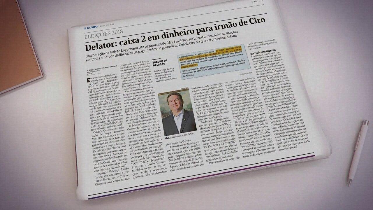 Reportagem do Jornal O Globo diz que irmão de Ciro Gomes recebeu caixa 2
