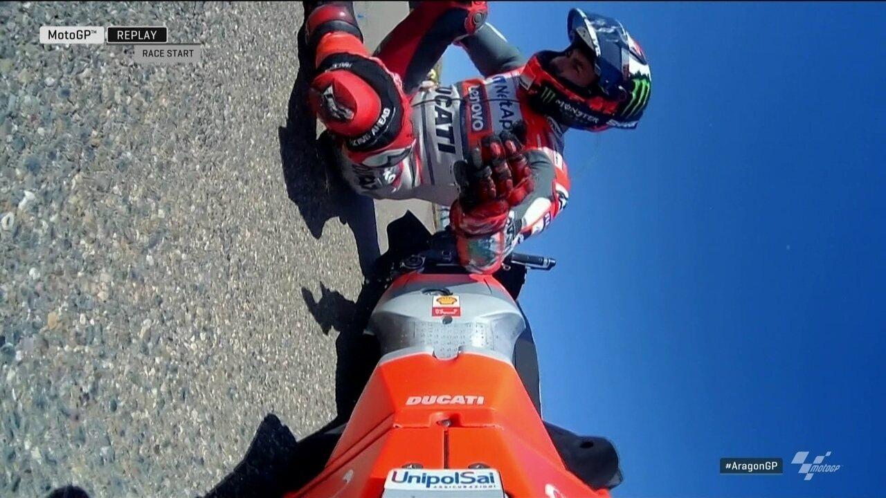 Pole position em Aragão, Jorge Lorenzo cai na largada