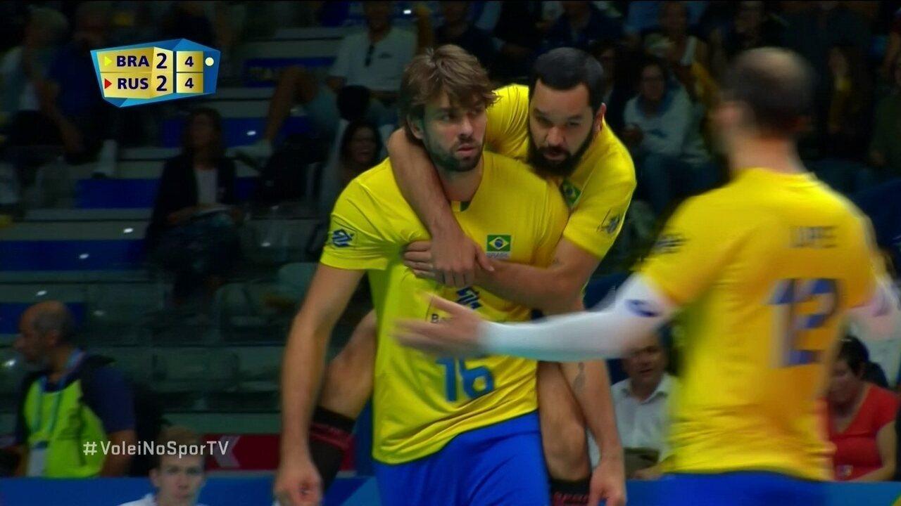 Melhores momentos de Brasil 3 x 2 Rússia pela 3ª fase do Mundial de Vôlei
