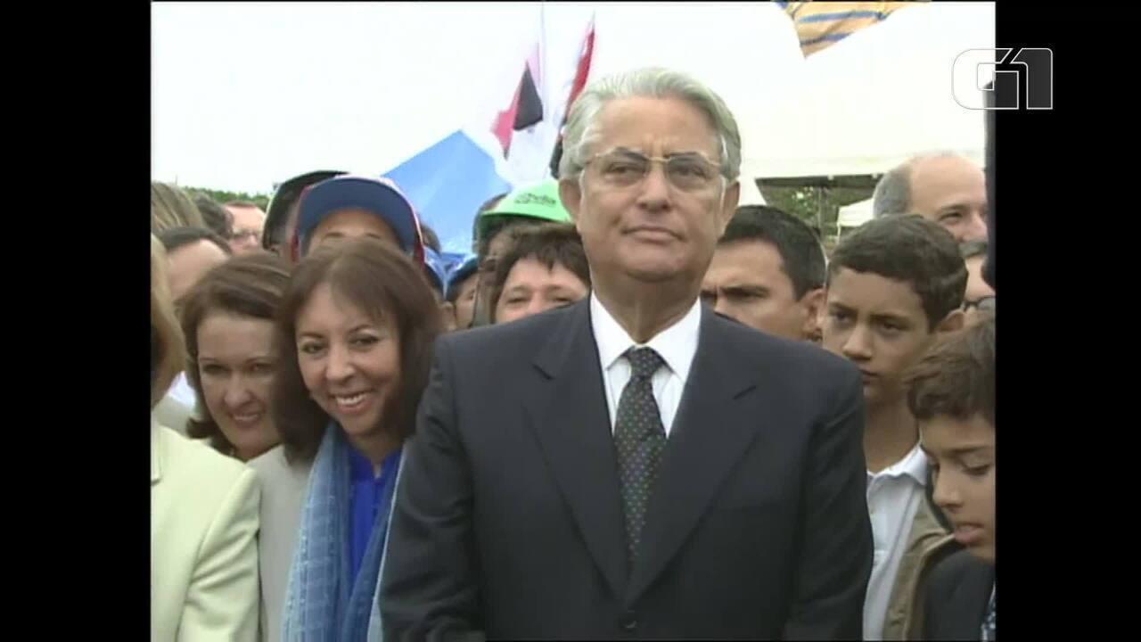 Arquivo: Joaquim Roriz inaugura Ponte JK em 2002, quando era governador de Brasília