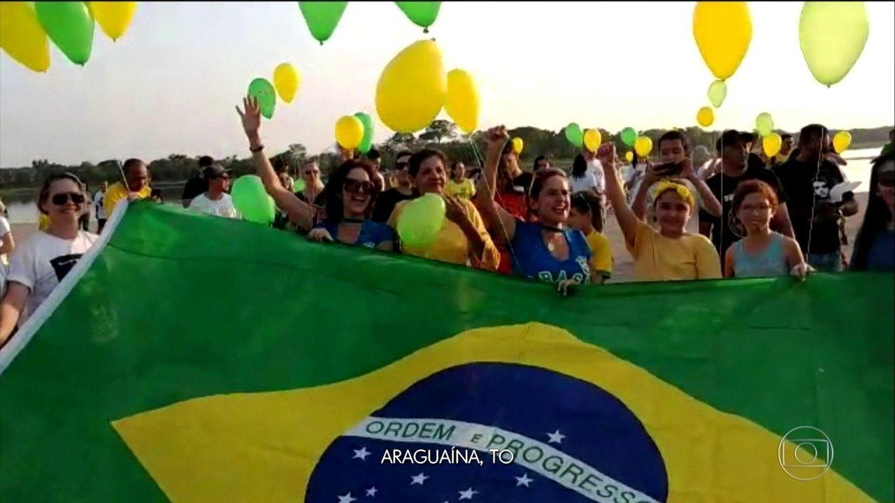 Manifestações a favor de Bolsonaro ocorrem em 16 estados