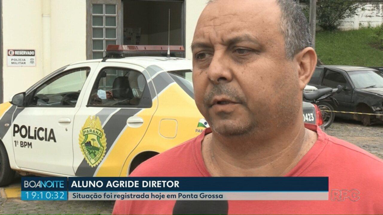 Diretor leva chute nas costas de aluno em Ponta Grossa, diz polícia