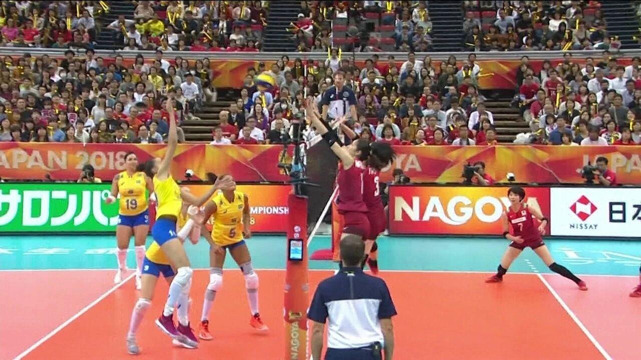Melhores momentos: Brasil 3 x 2 Japão pelo Mundial de vôlei feminino