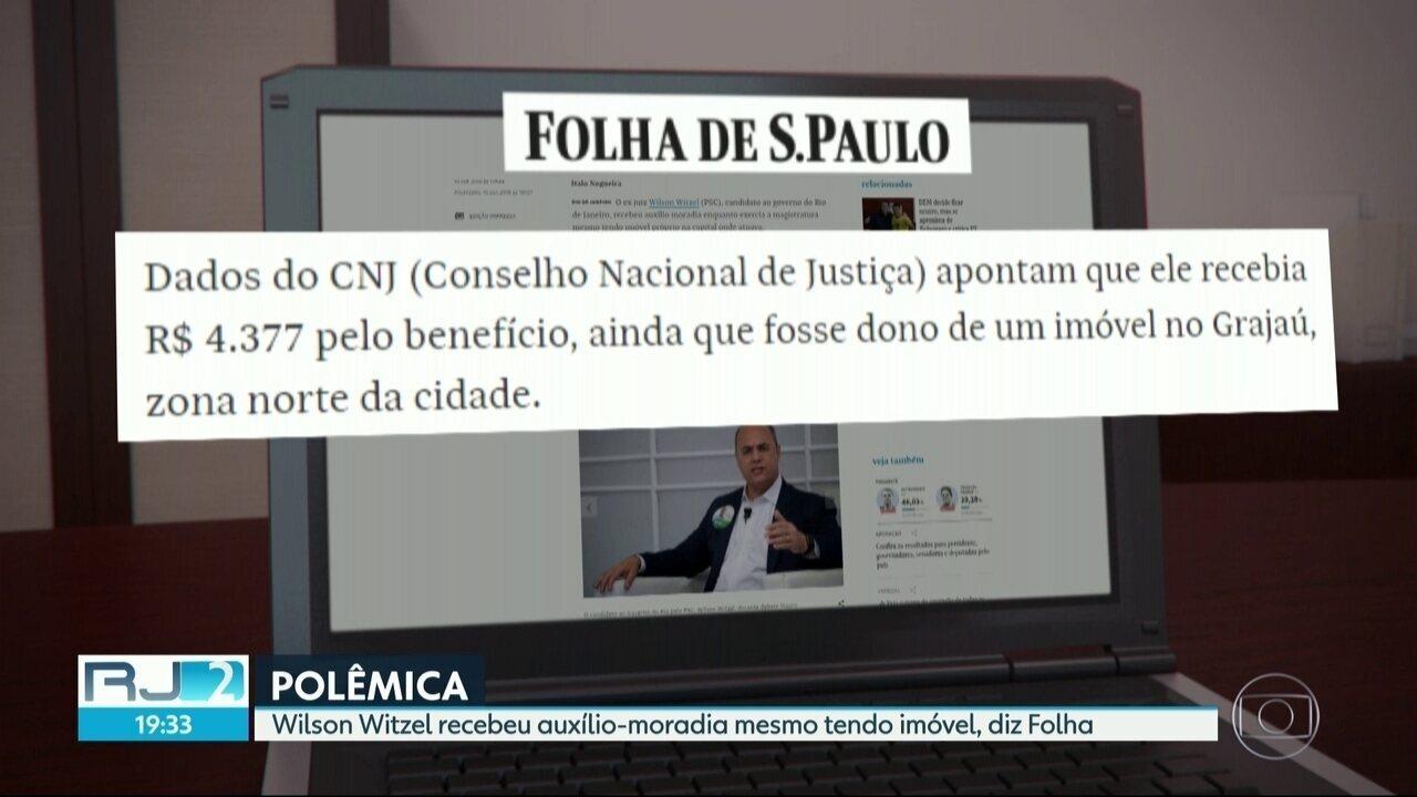 Wilson Witzel (PSC) recebeu auxílio-moradia mesmo tendo imóvel, diz Folha