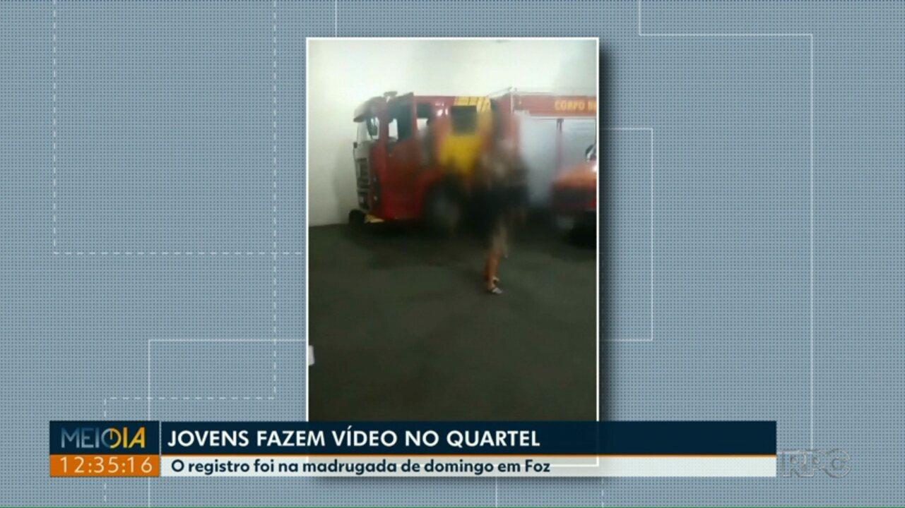 Resultado de imagem para Vídeo foi gravado no posto do Corpo de Bombeiros na madrugada de domingo (21); comando investiga o caso