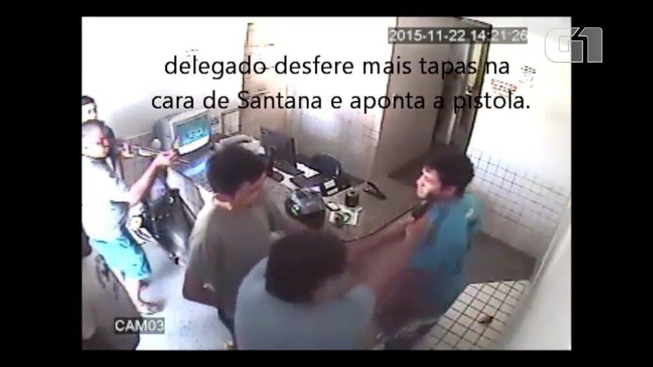 Vídeo mostra momento em que delegado agride policial dentro da DP de Macau
