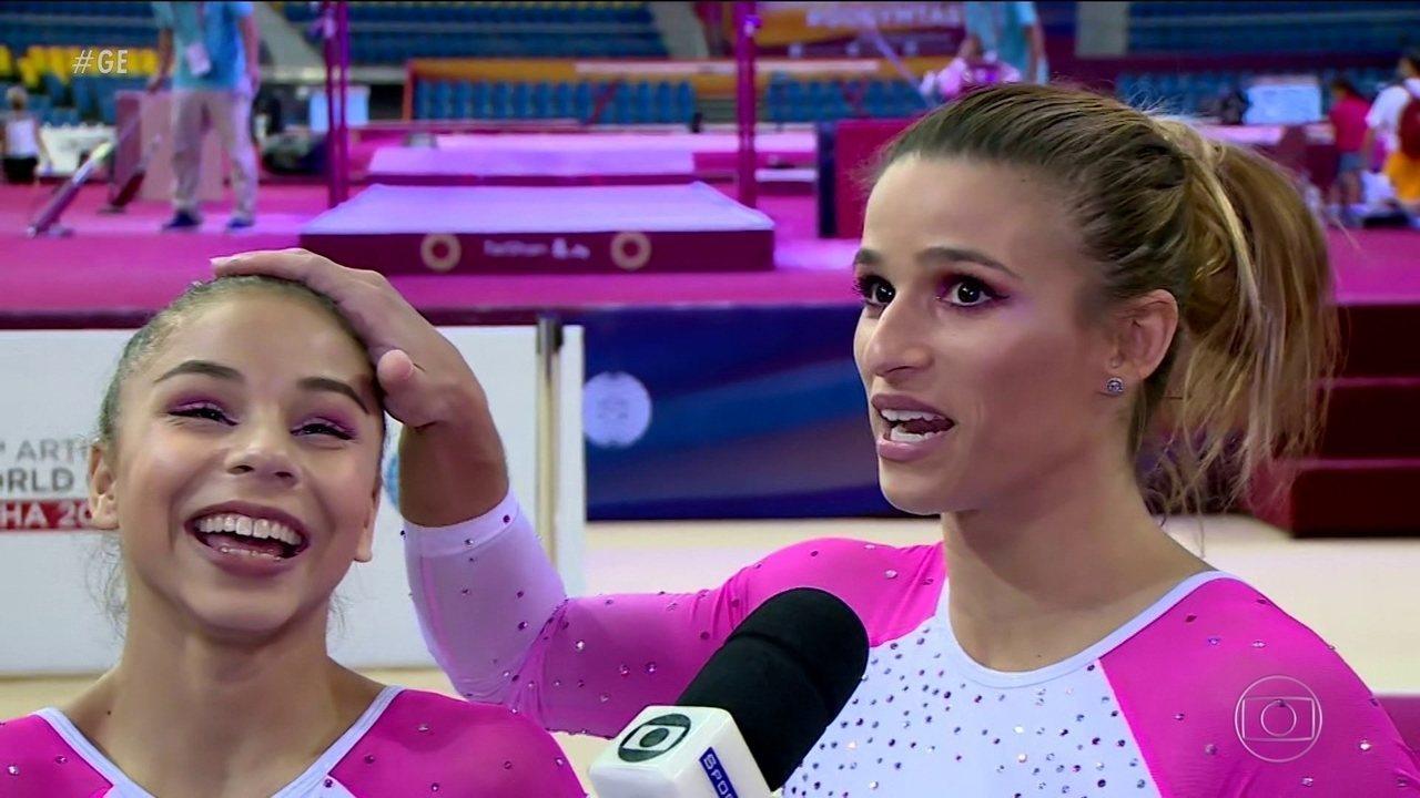 Jade Barbosa e Flávia Saraiva falam da parceria antes do Mundial de ginastica artística