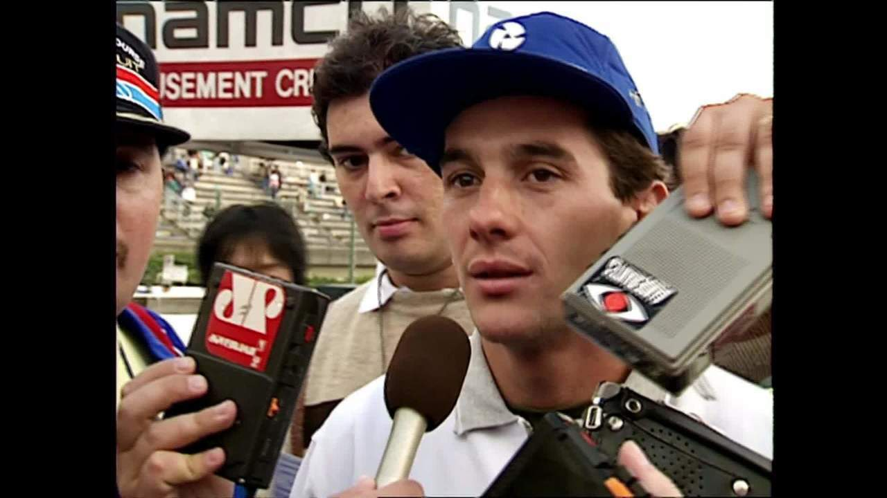 Reginaldo Leme entrevista Ayrton Senna após conquista do título de 1988
