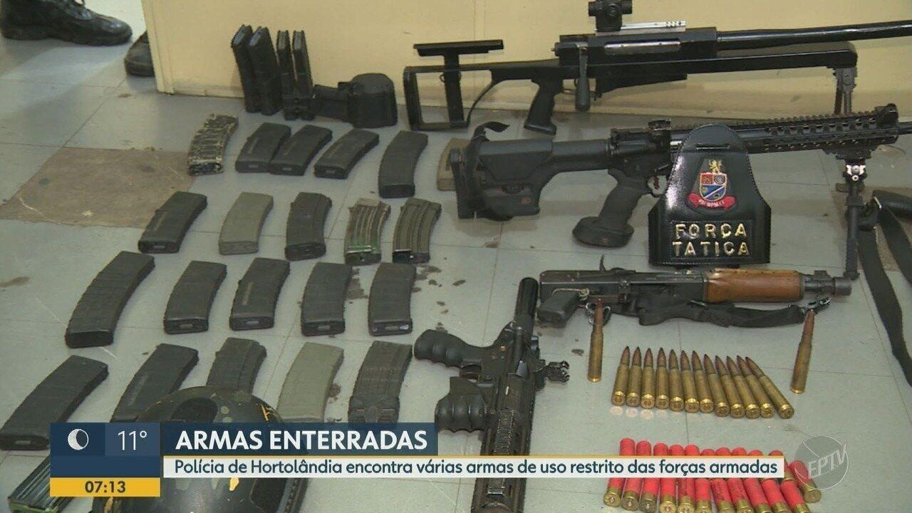 Polícia Militar encontra armas enterradas em terreno de Hortolândia
