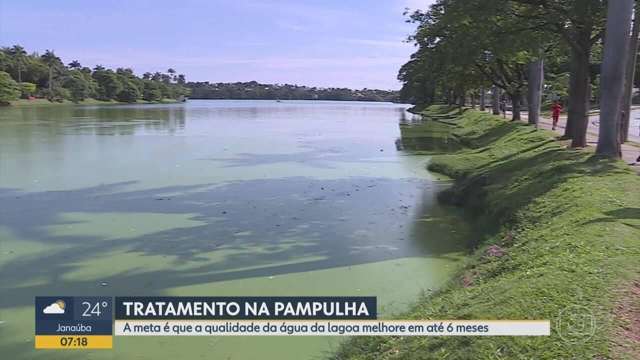 Trabalho de tratamento da água foi retomado em outubro na Lagoa da Pampulha