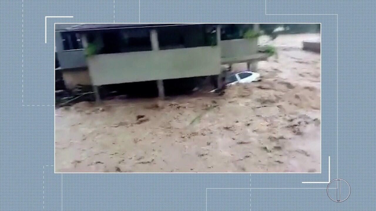 Vídeo mostra enxurrada em Santa Maria Madalena, no RJ