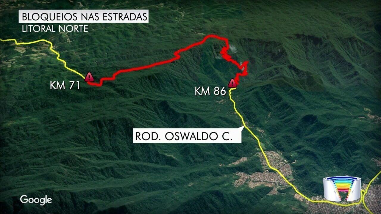 Chuvas provocam quedas de barreiras na Tamoios, Oswaldo Cruz e na Cunha-Paraty