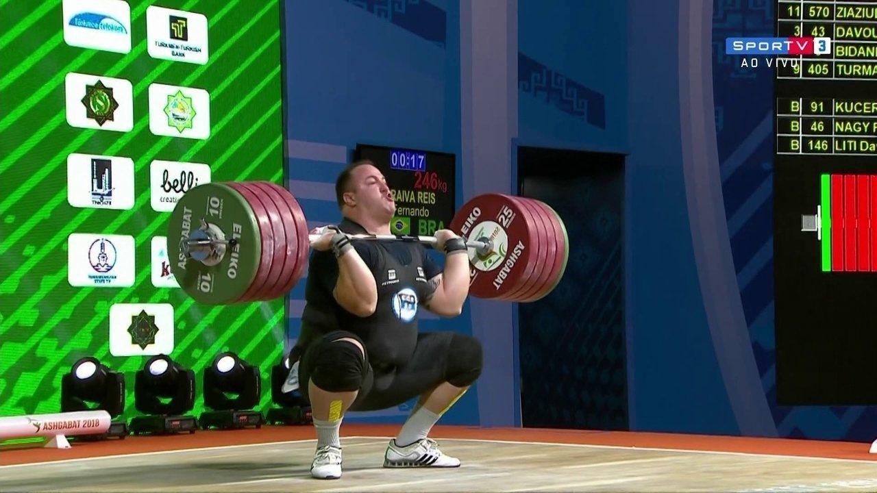 Fernando Reis erra tentativa de levantar 246kg no Mundial de Levantamento de peso