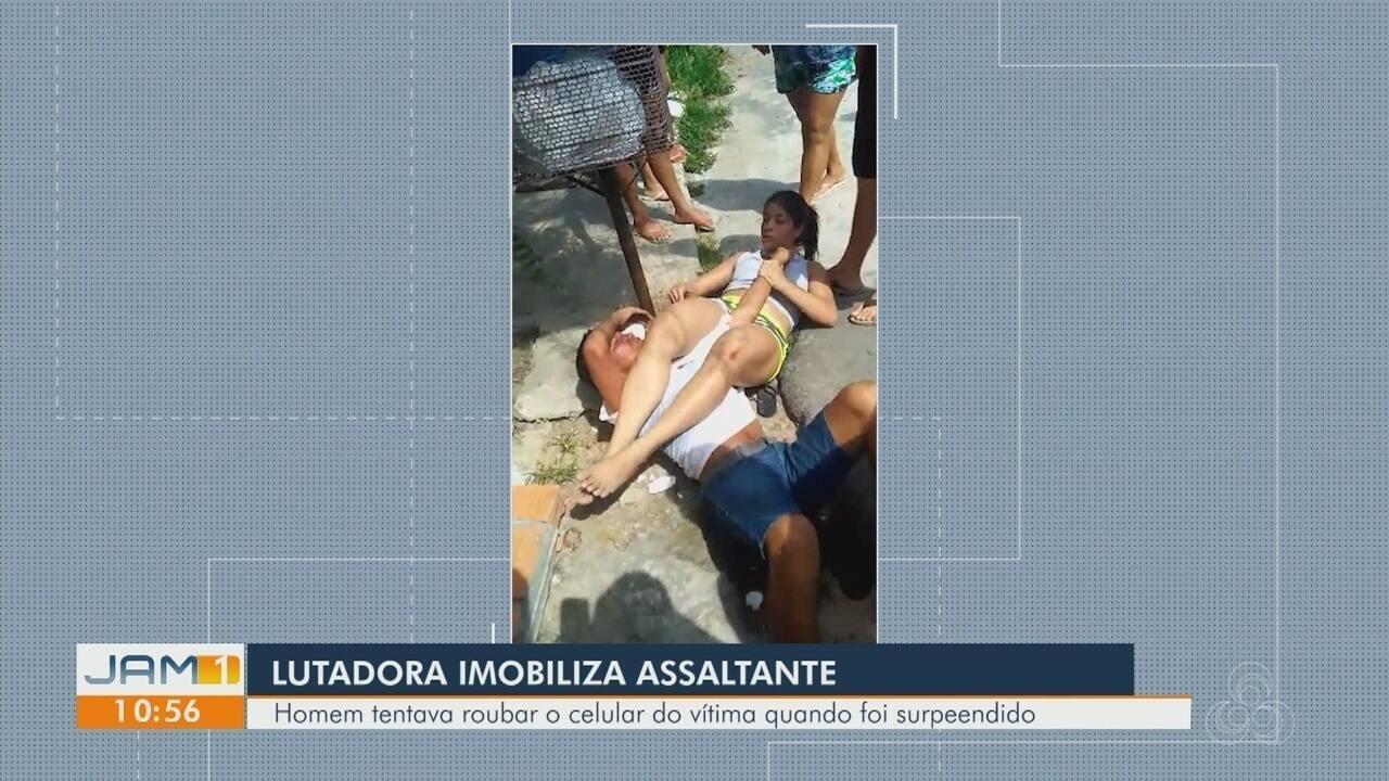 Mulher imobiliza homem com chave de braço após sofrer tentativa de assalto, no AM