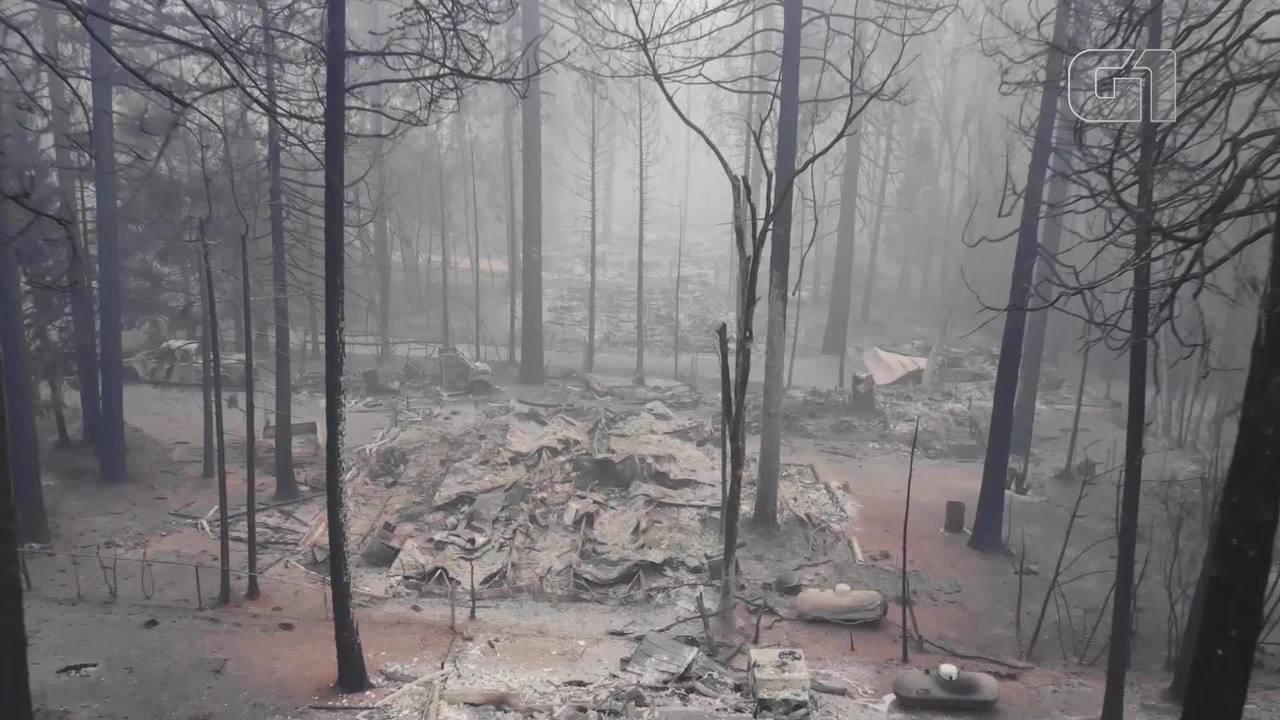 Imagens aéreas mostram destruição do fogo em Paradise, na Califórnia