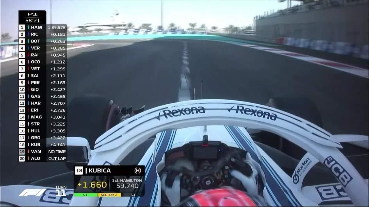 Robert Kubica pilota em Abu Dhabi com volante adaptado