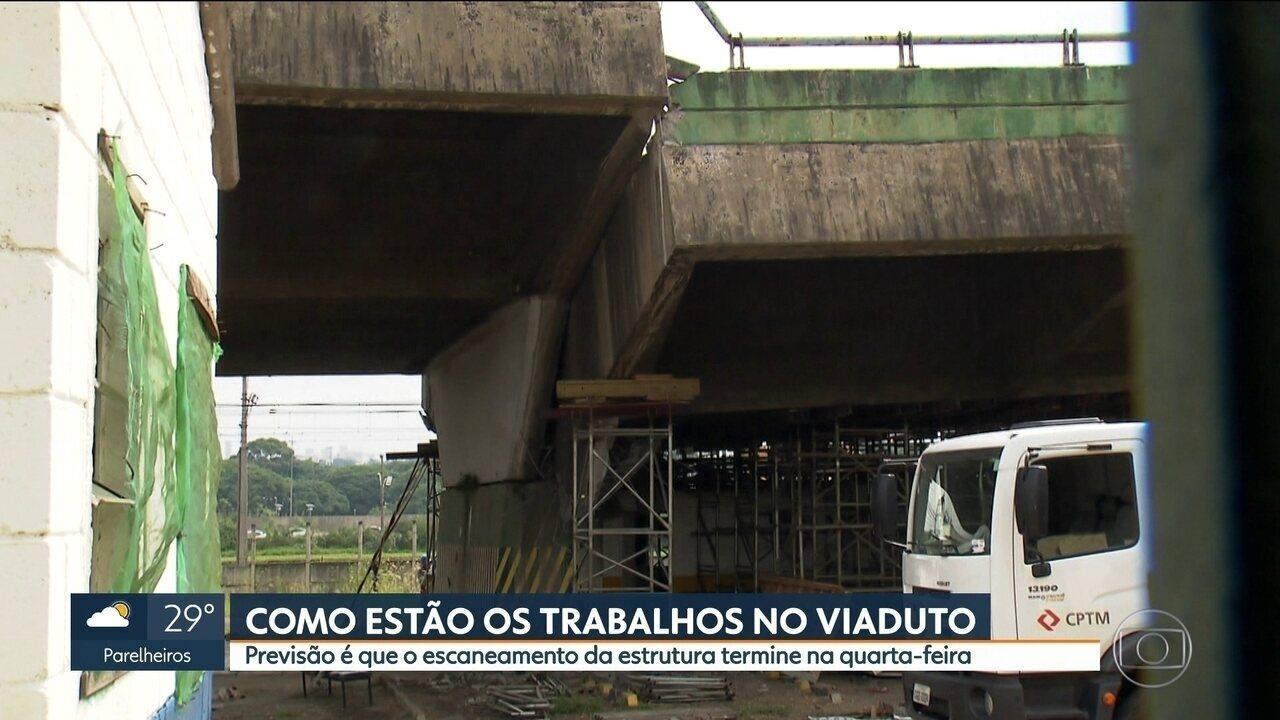 Escaneamento da estrutura de viaduto deve terminar na quarta-feira (28)