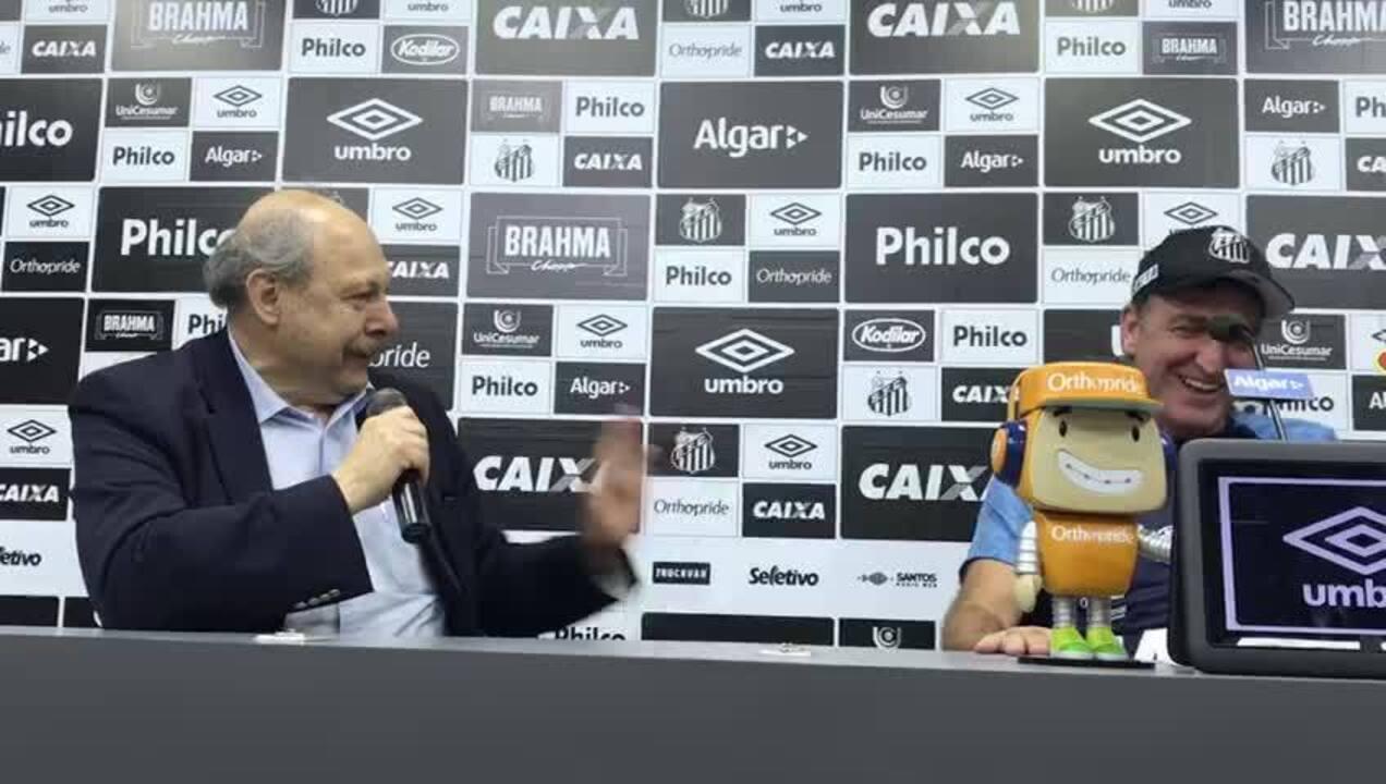 Presidente Peres brinca com Cuca e diz que ele vai escolher novo técnico do Santos