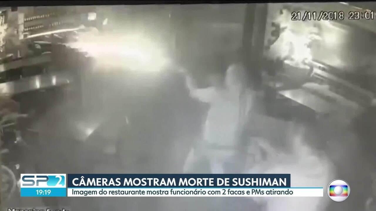 Imagens de câmera de segurança mostram PMs atirando em sushiman