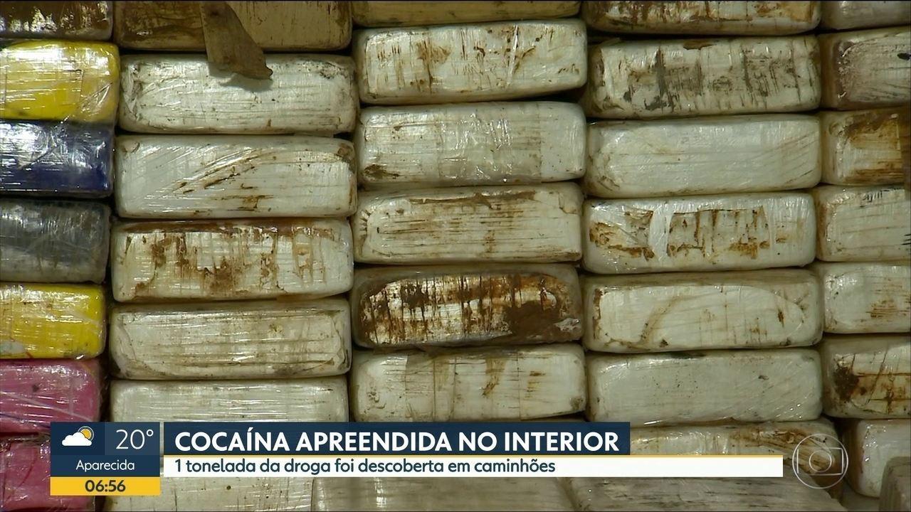 1 tonelada de cocaína foi apreendida no interior