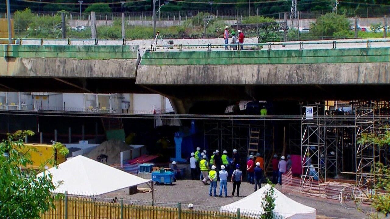 Imagens exclusivas mostram obras em viaduto que cedeu na Marginal Pinheiros, em São Paulo
