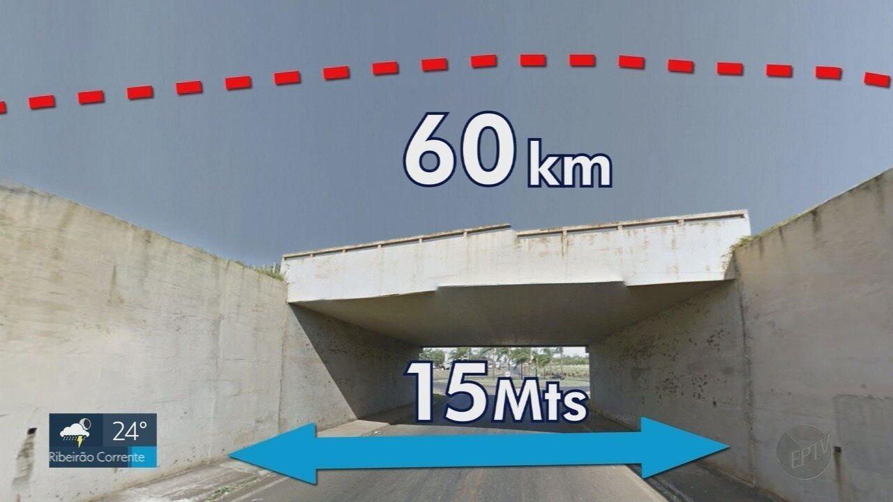 Caminhonete salta 15 metros entre duas pistas da Rodovia Anhanguera em Orlândia, SP