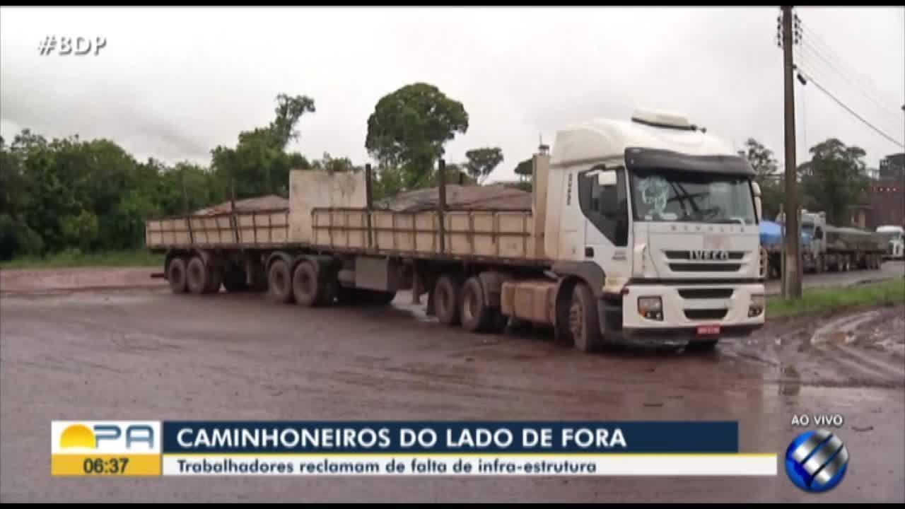 Em Barcarena, cerca de 200 caminhões estão parados ao lado da CDP