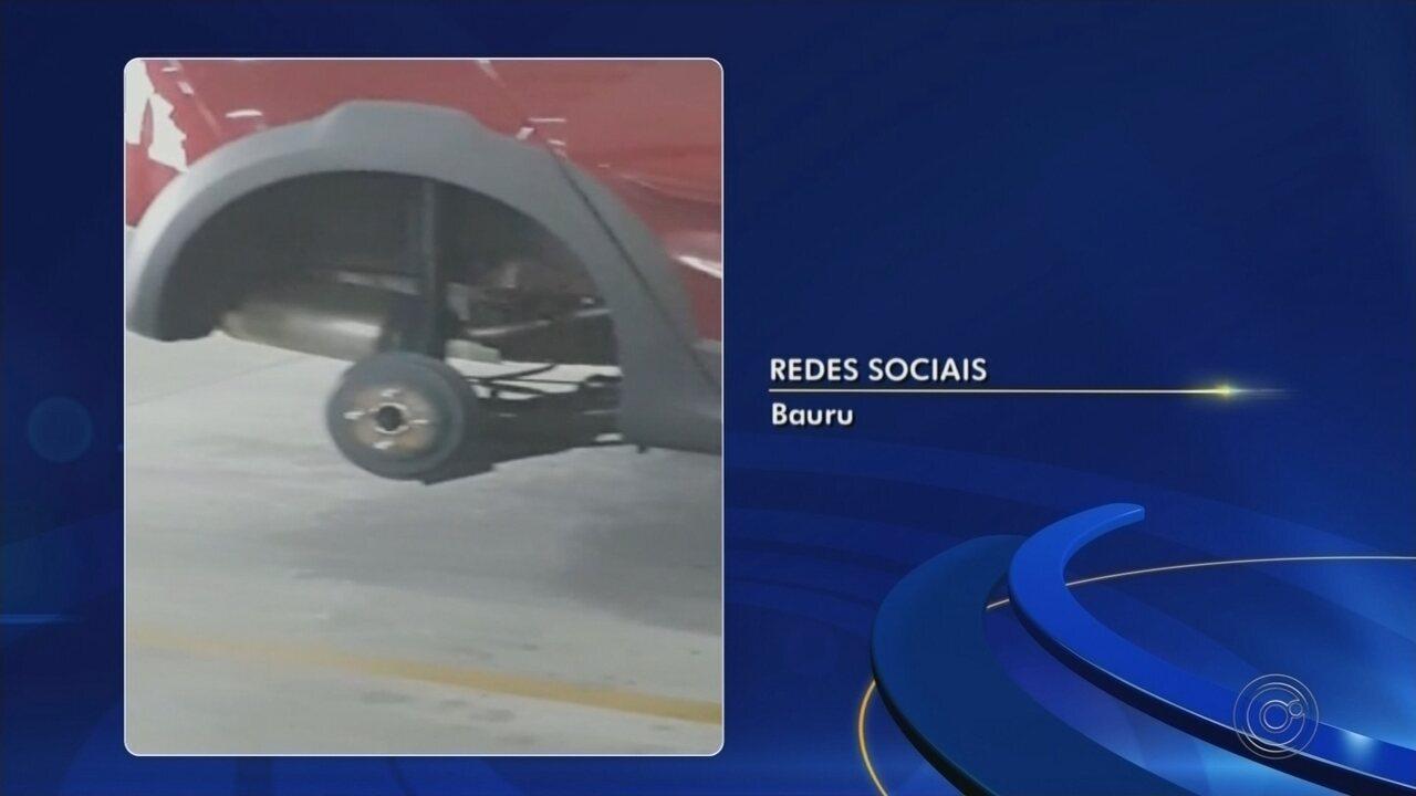 Carro tem rodas furtadas dentro de estacionamento de shopping em Bauru