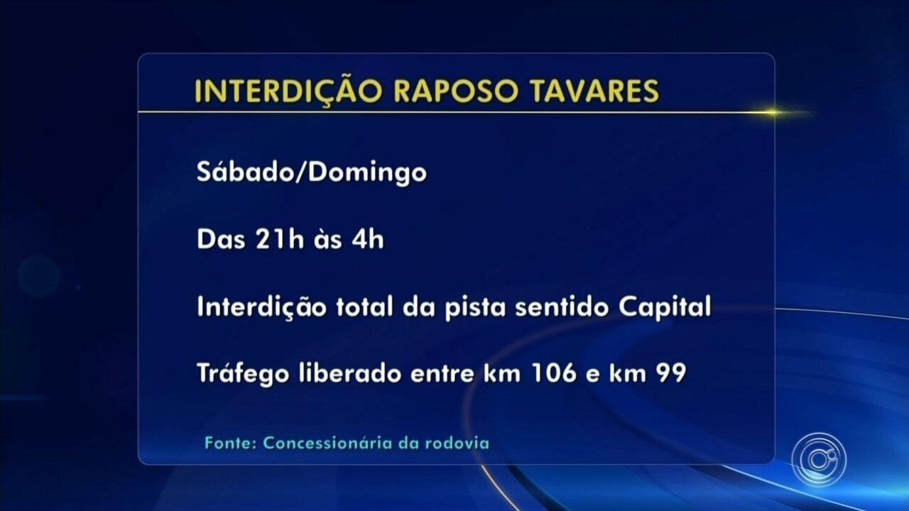 Confira os horários e locais de interdição da Rodovia Raposo Tavares em Sorocaba
