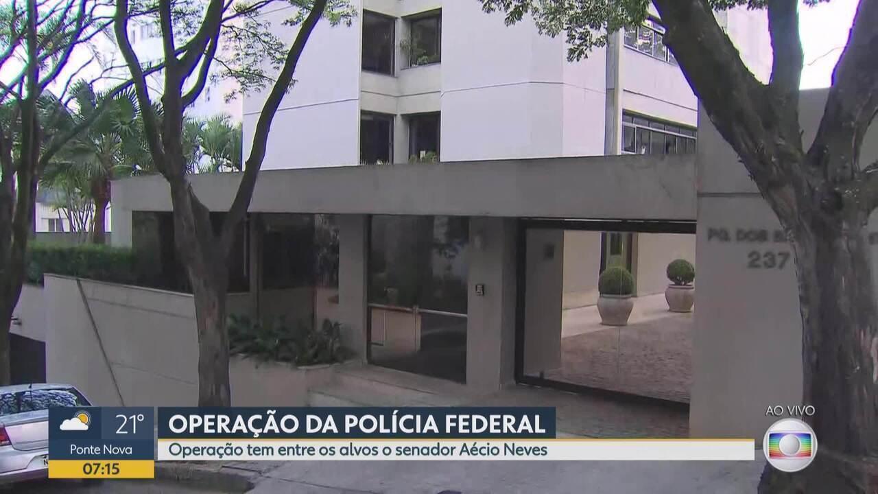 Policiais cumprem mandado em prédio do senador Aécio Neves, em Belo Horizonte