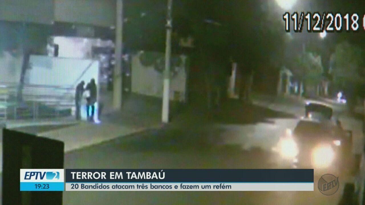 20 criminosos atacam três bancos e fazem um refém em Tambaú