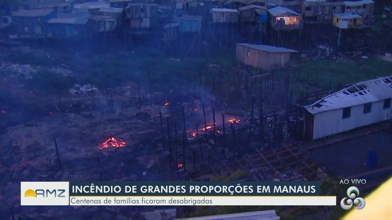 Mais de dez horas depois, área tomada por fogo em Manaus ainda tem focos de incêndio