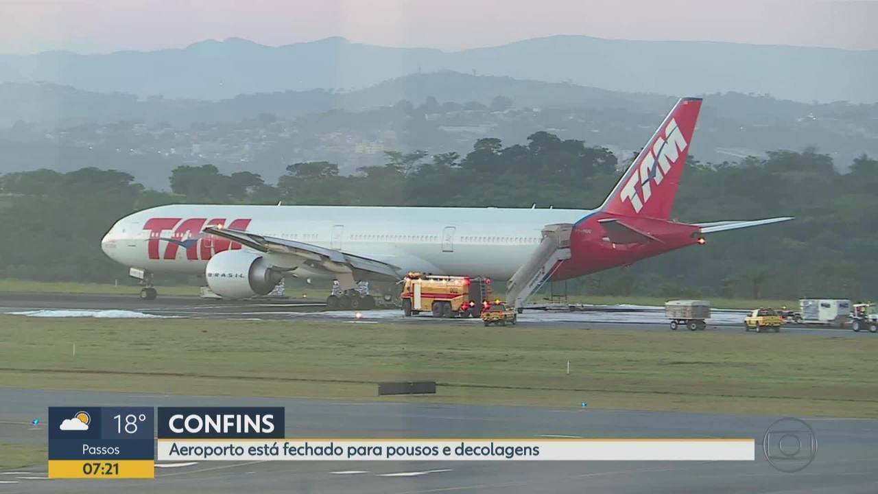 Boeing 777 faz pouso forçado no Aeroporto Internacional de Belo Horizonte