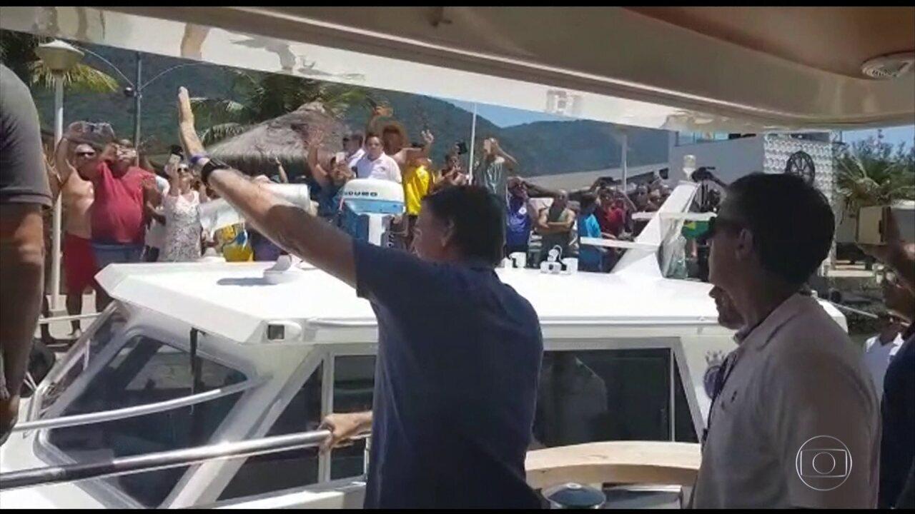 Jair Bolsonaro chega à Base Naval da Restinga da Marambaia, onde deve passar o Natal