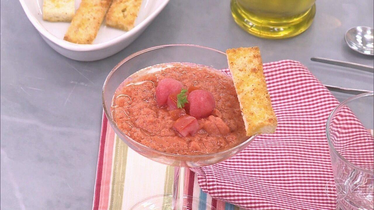 Ana Maria ensina como fazer sopa fria de Gaspacho de Tomate com Melancia