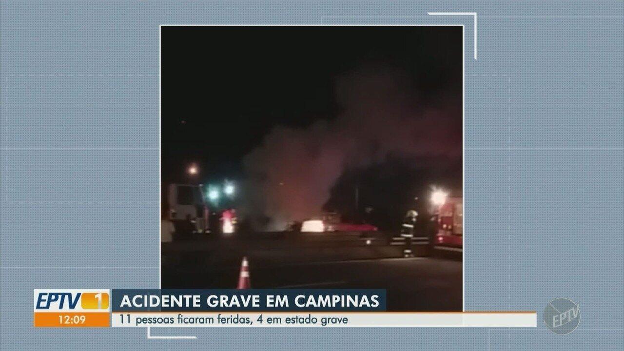 Acidente entre carros lotados deixa 11 feridos na Rodovia Anhanguera, em Campinas