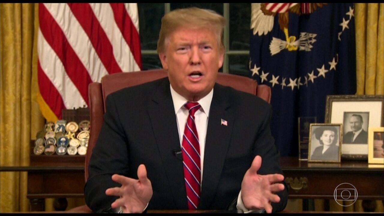 Trump defende construção de muro em discurso na TV americana